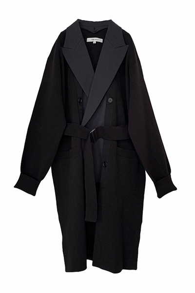 DETACHABLE BLAZER PANEL KNIT COAT [BLACK×BLACK]