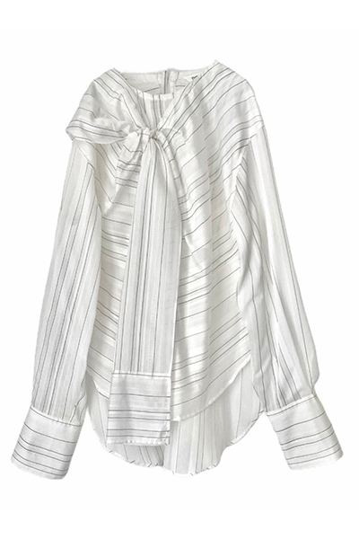 SHEER STRIPE TIE FRONT BLOUSE [WHITE]