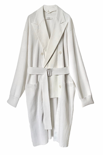 DETACHABLE BLAZER PANEL KNIT COAT [WHITE×WHITE]