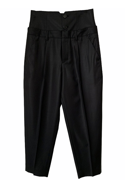 HIGH WAIST THICK BAND TAPERED PANTS [BLACK]