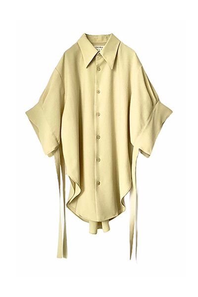 STRING CUFF POINT COLLAR SHIRT [LIGHT YELLOW]