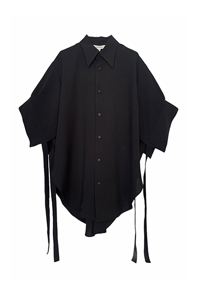 STRING CUFF POINT COLLAR SHIRT [BLACK]