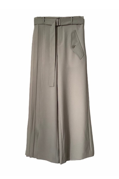 PLEATS PANEL BELTED PANTS [GREIGE]