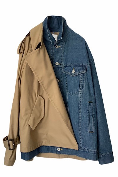 TRENCH PANEL DENIM JACKET [INDIGO×BEIGE]