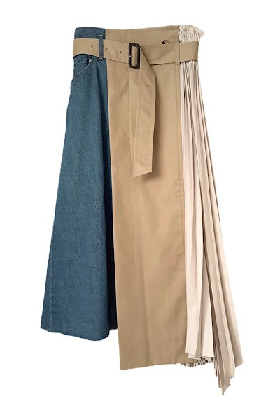 PLEATED PANEL DENIM SKIRT [INDIGO×BEIGE]