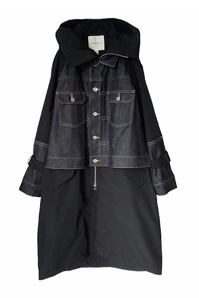 DENIM JACKET PANEL WINDBREAKER COAT [INDIGO×NAVY]