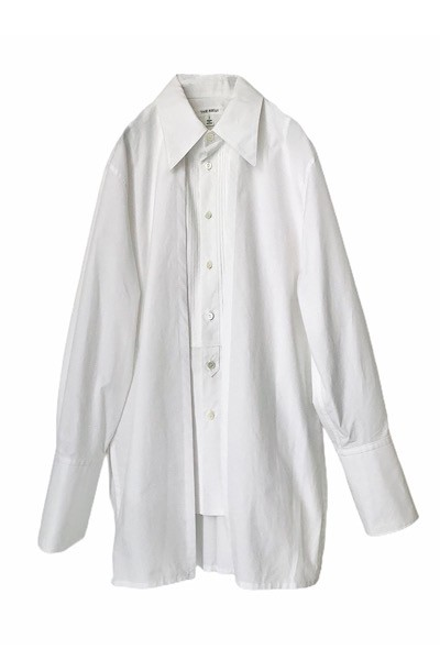 CAPE SLEEVE PLEAT BIB SHIRT [WHITE]
