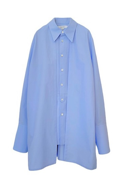 CAPE SLEEVE PLEAT BIB SHIRT [LIGHT BLUE]