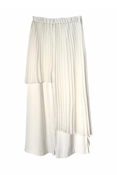 PLEATED SKIRT OVERLAY WIDE LEG PANTS [WHITE]
