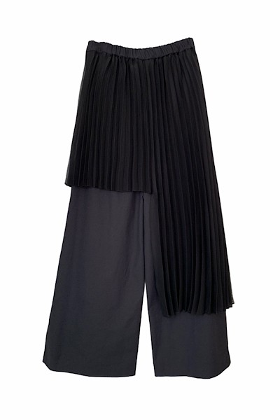 PLEATED SKIRT OVERLAY WIDE LEG PANTS [BLACK]