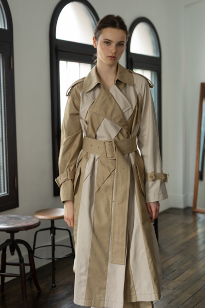 CONTRAST PATCHWORK TRENCH COAT