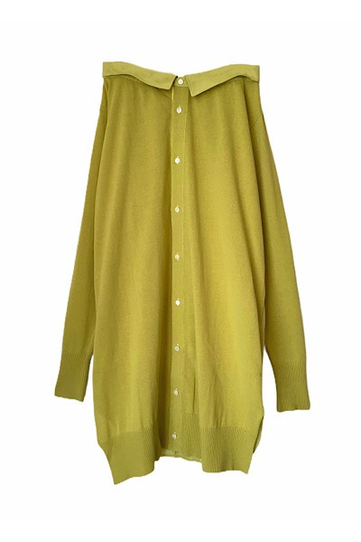 PLEAT BACK PANELLED LONG CARDIGAN-SKIRT [YELLOW]