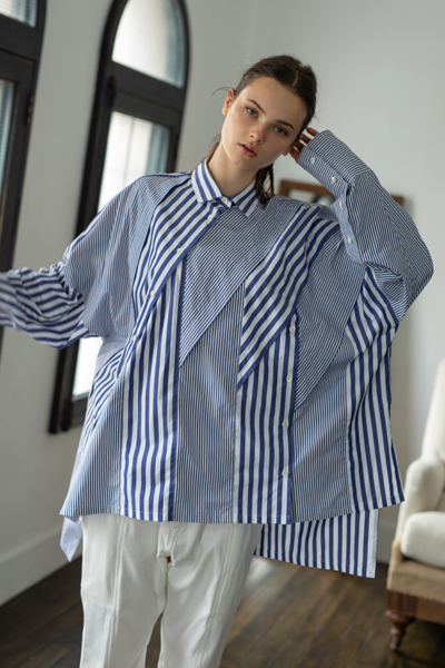 CONVERTIBLE PATCHWORK STRIPE SHIRT