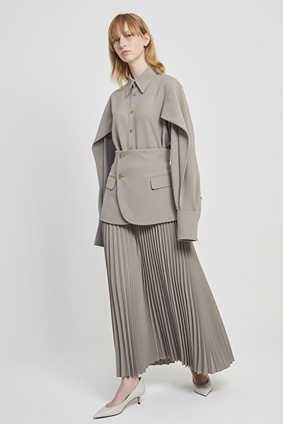 DETACHABLE BLAZER PANEL PLEATEDSKIRT [KHAKI GREEN]