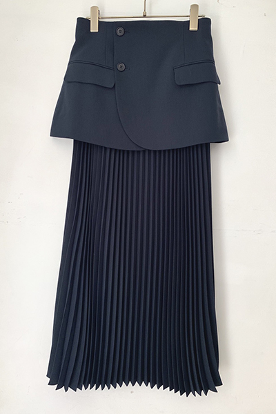 DETACHABLE BLAZER PANEL PLEATEDSKIRT [NAVY]