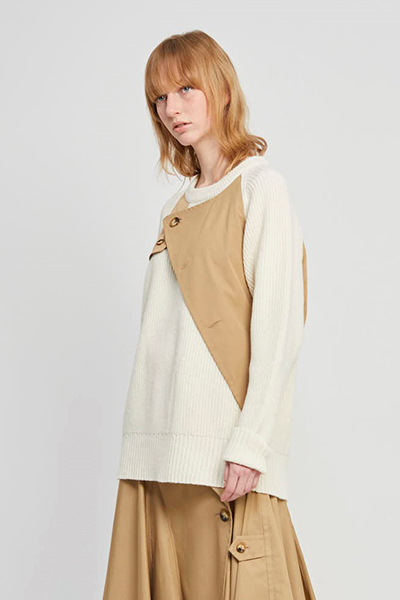 REMOVABLE SCARF TRENCH SWEATER [WHITE and BEIGE]