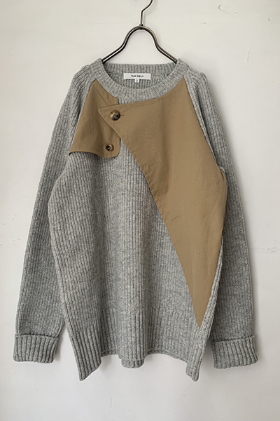 REMOVABLE SCARF TRENCH SWEATER [GREY and BEIGE]
