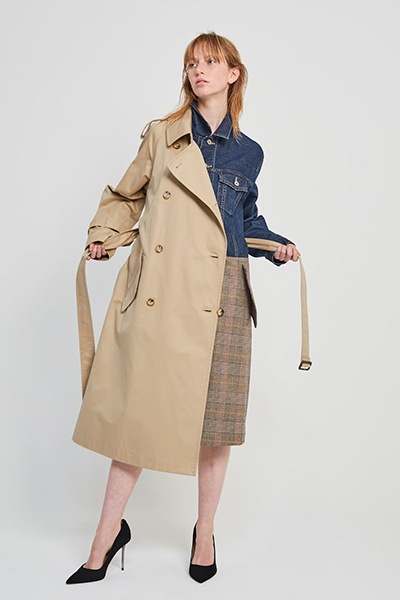 DENIM JACKET PANEL TRENCH COAT [BEIGE & INDIGO]