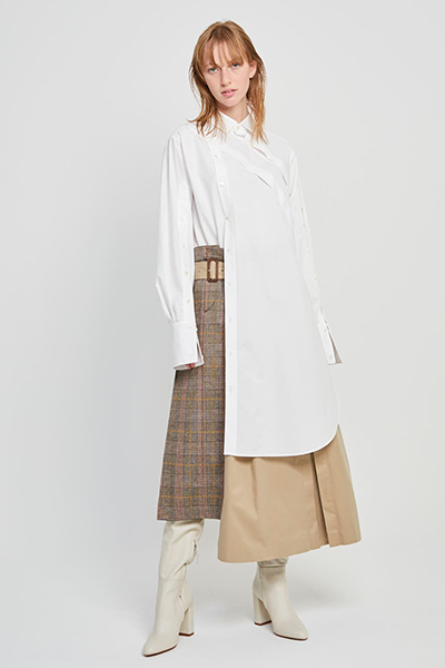 ASYMMETRIC PLACKETS HIGH-LOW SHIRT [WHITE]