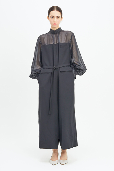 SHEER PANEL BELTED JUMPSUIT [BLACK]