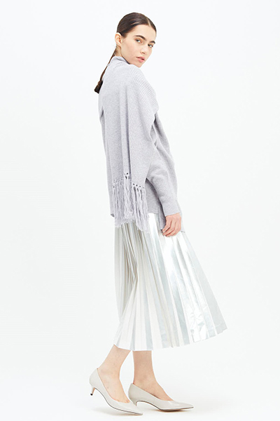 FOIL STRIPE PLEATED SKIRT [SILVER & WHITE]