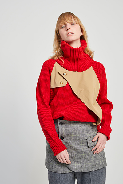 REMOVABLE SCARF TRENCH SWEATER [RED and BEIGE]