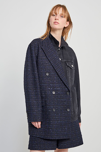 LAME TWEED BLAZER PANEL DENIM JACKET