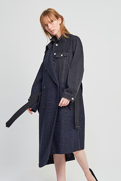 DENIM JACKET PANEL LAME TWEED TRENCH  COAT