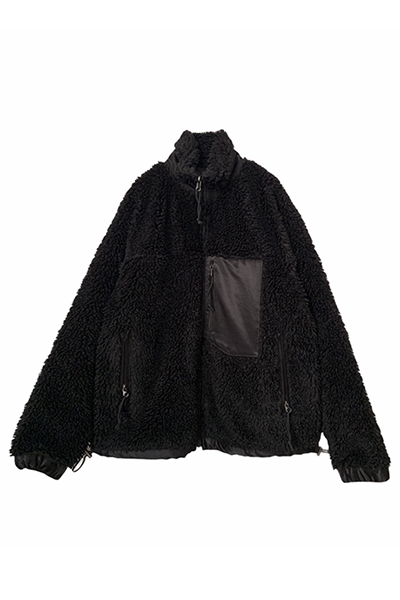 FAUX FUR AND SATIN REVERSIBLE JACKET [BLACK]