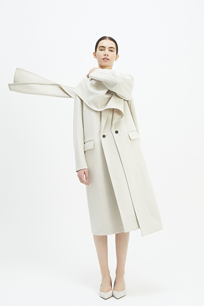 LAYERED SCARF COLLAR WOOL COAT [OATMEAL]