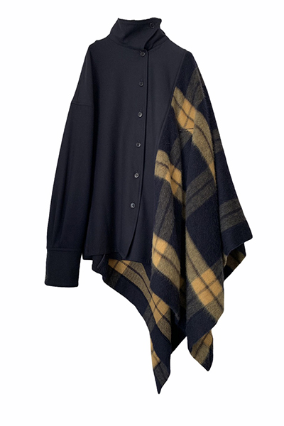 ASYMMETRIC CHECK PANEL CAPE COAT [NAVY and YELLOW]