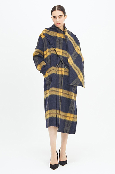 LAYERED SCARF COLLAR CHECK [NAVY and YELLOW]