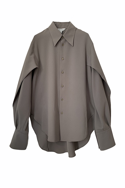 DRAPE SLEEVE POINT COLLAR SHIRT [KHAKI GREEN]
