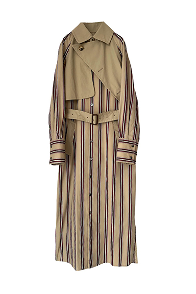 PATCHWORK STRIPE TRENCH SHIRT DRESS [BEIGE&MULTI]
